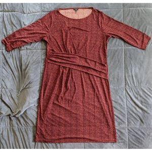 Talbots Brand Red Patterned Midi Dress, Size 1X/XL